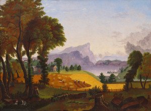 Art Prints of American Harvesting, a Folk Art Landscape Painting, American School