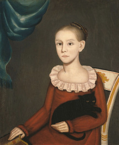 Art Prints of Girl with Cat by Ammi Phillips