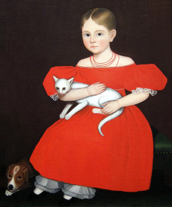 Art Prints of Girl in Red Dress with Cat and Dog by Ammi Phillips