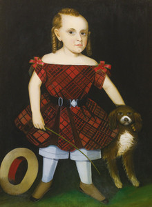 Art Prints of Portrait of a Young Boy in Plaid with a Dog by Ammi Phillips