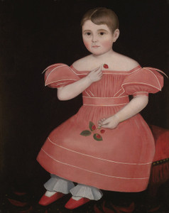 Art Prints of Portrait of a Rosy Cheeked Young Girl in a Pink Dress by Ammi Phillips
