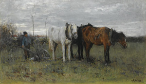 Art Prints of A Ploughing Farmer by Anton Mauve