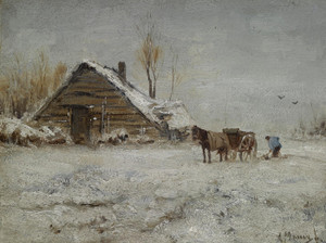 Art Prints of A Peasant at Work in a Wintry Day by Anton Mauve