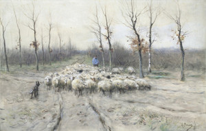 Art Prints of Flock of Sheep on the Health near Laren by Anton Mauve