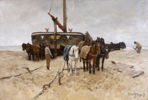 Art Prints of Fishing Boat on the Beach by Anton Mauve