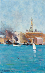 Art Prints of Circular Quay, Sydney Harbor by Arthur Streeton