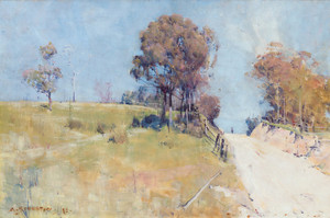 Art Prints of Sunlight Cutting on a Hot Road by Arthur Streeton