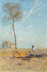 Art Prints of The Selectors Hut, Whelan on the Log by Arthur Streeton