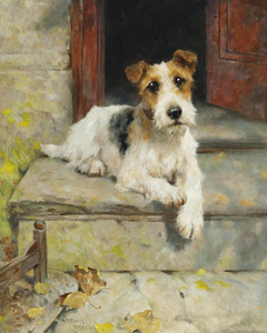 Art Prints of Waiting for Master, Wire-Haired Fox Terrier by Arthur Wardle