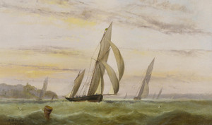 Art Prints of A Racing Ketch off Isle of Wight by Arthur Wellington Fowles