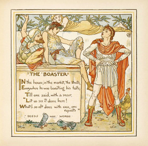 "Art Prints of The Boaster ""Deeds Not Words"", Aesop's Fables"