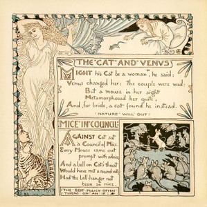 Art Prints of The Cat and the Venus & Mice in Council, Aesop's Fables