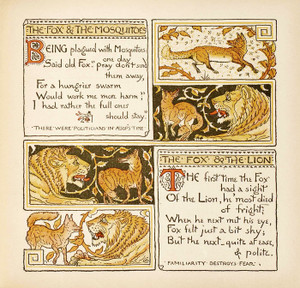 Art Prints of Fox and the Mosquitoes & Fox and the Lion, Aesop's Fables