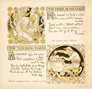 Art Prints of The Golden Eggs & The Miser and His Gold, Aesop's Fables