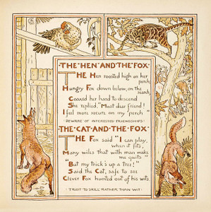Art Prints of The Hen and the Fox & The Cat and the Fox, Aesop's Fables