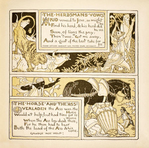 Art Prints of The Herdsman's Vows & The Horse and the Ass, Aesop's Fables