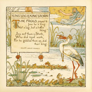 Art Prints of King Log and King's Stork, Aesop's Fables