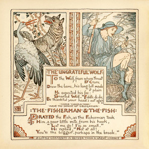 Art Prints of Ungrateful Wolf & Fisherman and Fish, Aesop's Fables