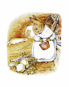 Art Prints of Mrs. Rabbit Cooks Dinner for Bunnies by Beatrix Potter