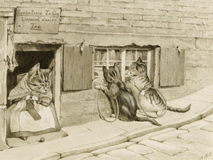 Art Prints of Squintina Tabby, Licensed Dealer in Tea by Beatrix Potter