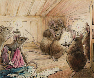 Art Prints of The Mice Listen to Tailor's Lament by Beatrix Potter