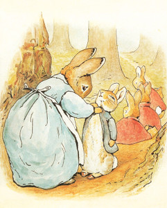 Art Prints of Mrs. Rabbit says Goodbye and no Mischief to Peter by Beatrix Potter