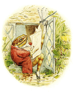 Art Prints of Jeremy Fisher Reads the Newspaper by Beatrix Potter