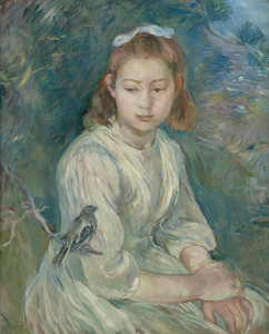 Art Prints of Girl with Bird by Berthe Morisot