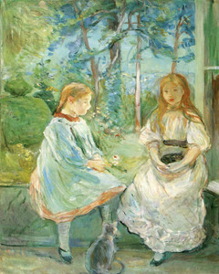 Art Prints of Girls at the Window with Cat by Berthe Morisot