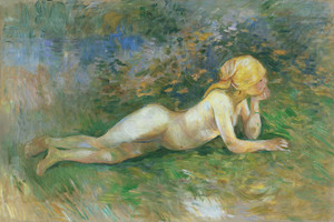 Art Prints of Reclining Nude Shepherdess by Berthe Morisot