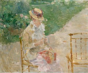Art Prints of Young Girl Knitting by Berthe Morisot
