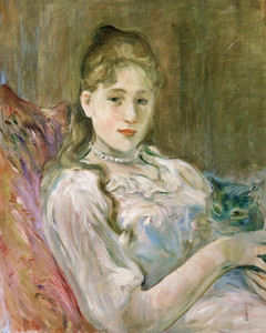 Art Prints of Young Girl with a Cat by Berthe Morisot
