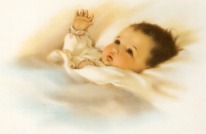 Art Prints of Baby with the Golden Glow of Sweet Dreams by Bessie Pease Gutmann