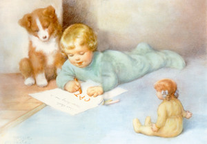 Art Prints of Drawing and Spelling with Friends by Bessie Pease Gutmann