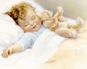 Art Prints of The Time Has Come to Snuggle Your Teddy Bear by Bessie Pease Gutmann