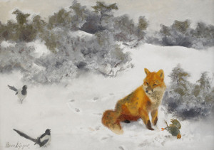 Art Prints of Fox in a Winter Landscape by Bruno Liljefors