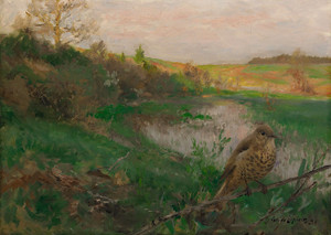 Art Prints of Landscape and Song Thrush by Bruno Liljefors
