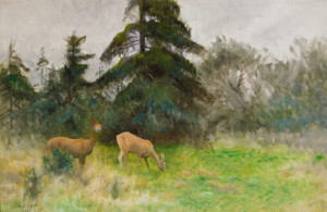 Art Prints of Roe Deer in Summer Greenery by Bruno Liljefors