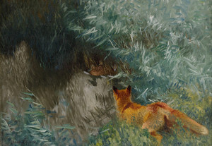 Art Prints of Stalking Fox by Bruno Liljefors
