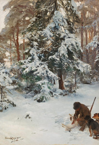 Art Prints of Winter Landscape with Hunter and Dogs by Bruno Liljefors