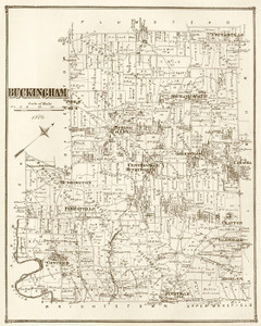 Art Prints of Buckingham, 1876, Bucks County Vintage Map