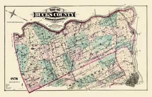 Art Prints of Bucks County Map Color, Bucks County Vintage Map