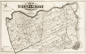 Art Prints of Bucks County Map Neutral, Bucks County Vintage Map