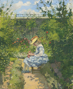 Art Prints of Jeanne Pissarro in the Garden by Camille Pissarro