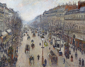 Art Prints of Boulevard Montmartre, Cloudy Morning Weather by Camille Pissarro