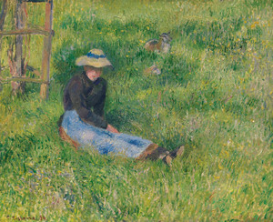 Art Prints of Farmer and Goat in the Grass by Camille Pissarro