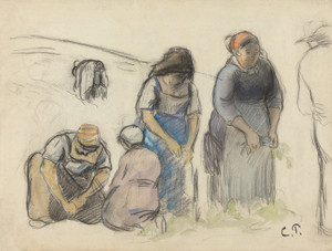 Art Prints of Pea Harvesters by Camille Pissarro