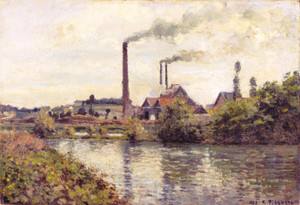Art Prints of The Factory at Pontoise by Camille Pissarro