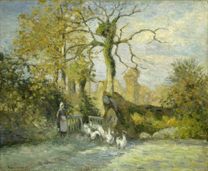 Art Prints of The Goose Girl at Montfoucault or White Frost by Camille Pissarro