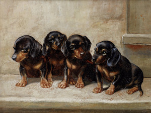Art Prints of The Quartet, Dachshunds by Carl Reichert